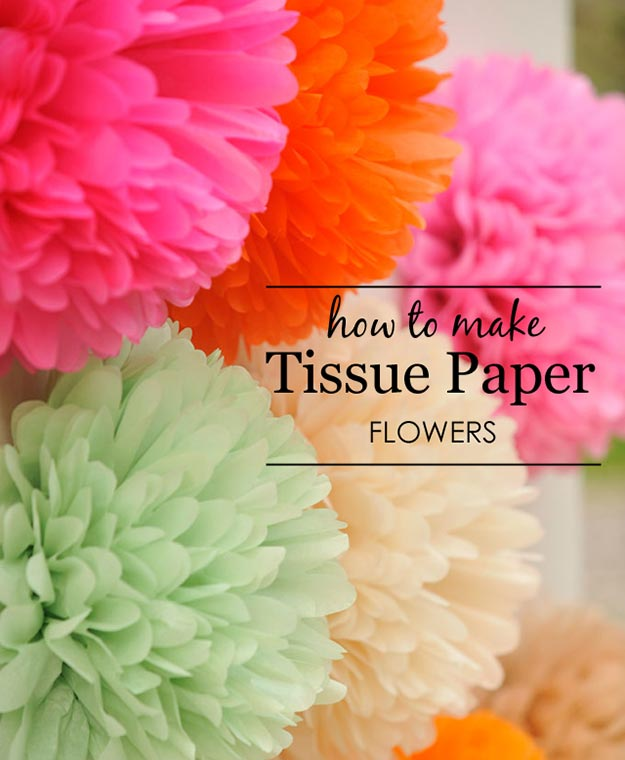 Pom Pom Crafts - How to Make Tissue Paper Flowers - Easy DIY Decor and Craft Ideas Made With Pom Poms - Homemade Room Decor for Teens and Adults - How to Make A Pom Pom Tutorial - Tissue Paper and Yarn Crafts to Make and Sell On Etsy #teencrafts #pompomcrafts #diyideas