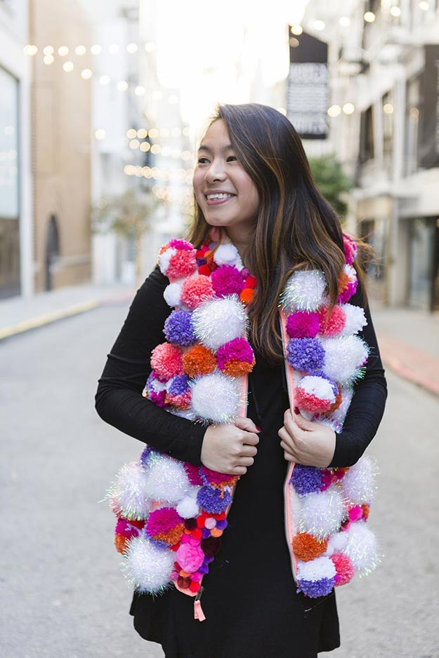 Pom Pom Crafts - DIY Pom Pom Vest - Easy DIY Decor and Craft Ideas Made With Pom Poms - Homemade Room Decor for Teens and Adults - How to Make A Pom Pom Tutorial - Tissue Paper and Yarn Crafts to Make and Sell On Etsy #teencrafts #pompomcrafts #diyideas