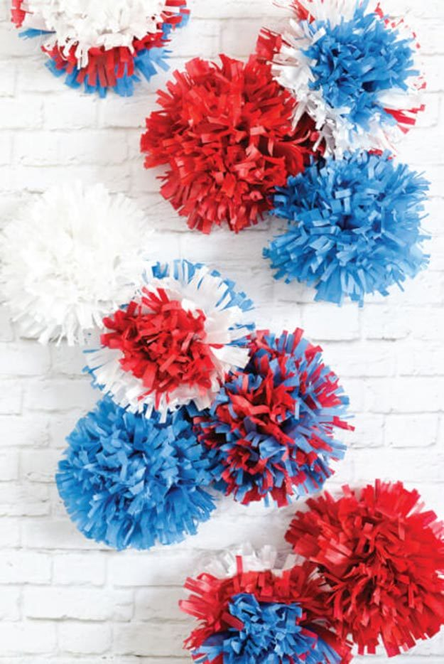 Pom Pom Crafts - How to Make Tissue Paper Fireworks - Easy DIY Decor and Craft Ideas Made With Pom Poms - Homemade Room Decor for Teens and Adults - How to Make A Pom Pom Tutorial - Tissue Paper and Yarn Crafts to Make and Sell On Etsy #teencrafts #pompomcrafts #diyideas