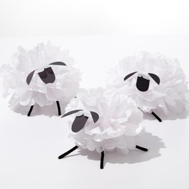 Pom Pom Crafts - Tissue Paper Pom Pom Sheep Tutorial - Easy DIY Decor and Craft Ideas Made With Pom Poms - Homemade Room Decor for Teens and Adults - How to Make A Pom Pom Tutorial - Tissue Paper and Yarn Crafts to Make and Sell On Etsy #teencrafts #pompomcrafts #diyideas