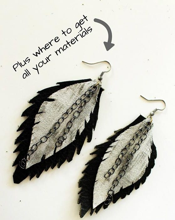 DIY Boho Fashion Ideas - DIY Leather Feather Earrings Tutorial - How to Make Boho Feather Earrings - How to Make Your Own Boho Clothes, Sandals, Bag, Jewelry At Home - Boho Fashion Style - Cute and Easy DIY Boho Clothing, Clothes, Fashion - Homemade Bohemian Clothing #teencrafts #diyideas #diybohofashion #diybohoclothes