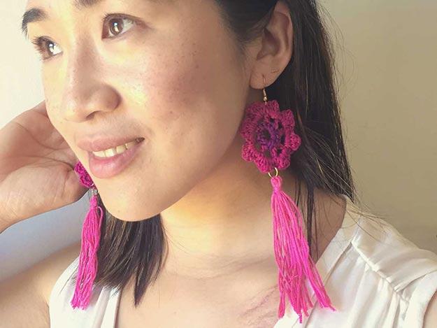 DIY Boho Fashion Ideas - DIY Boho Crochet Earrings Tutorial - How to Make Boho Earrings - How to Make Crochet Earrings - How to Make Your Own Boho Clothes, Sandals, Bag, Jewelry At Home - Boho Fashion Style - Cute and Easy DIY Boho Clothing, Clothes, Fashion - Homemade Bohemian Clothing #teencrafts #diyideas #diybohofashion #diybohoclothes