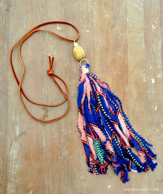 DIY Boho Fashion Ideas - DIY Fabric Tassel Necklace Tutorial - How to Make A Tassel Necklace - How to Make Your Own Boho Clothes, Sandals, Bag, Jewelry At Home - Boho Fashion Style - Cute and Easy DIY Boho Clothing, Clothes, Fashion - Homemade Bohemian Clothing #teencrafts #diyideas #diybohofashion #diybohoclothes