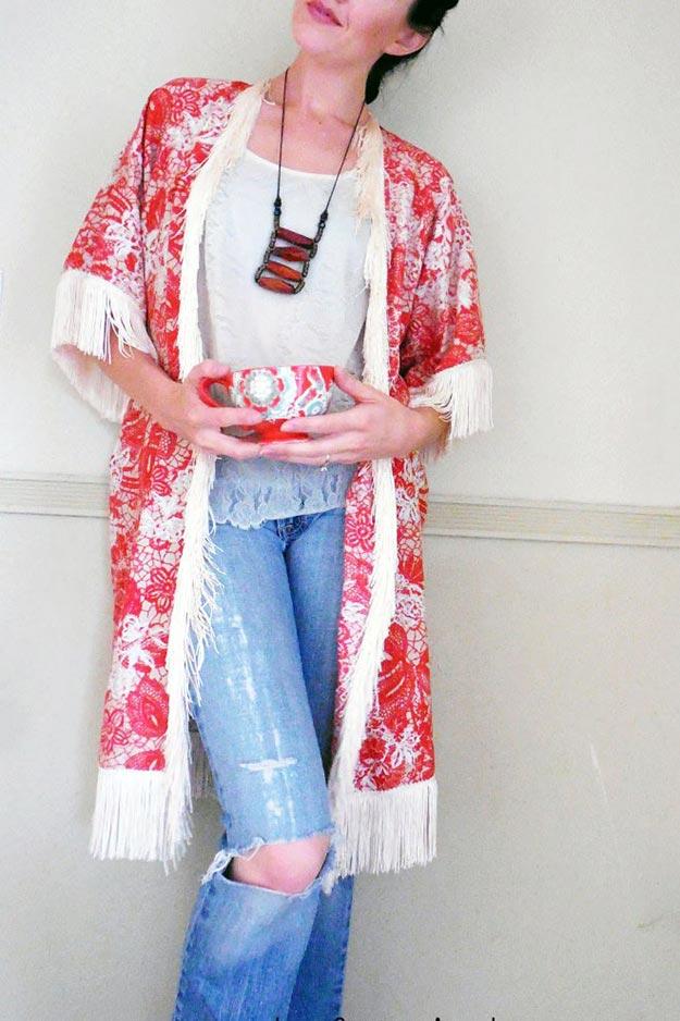 DIY Boho Fashion Ideas - DIY Free People Inspired Kimono Tutorial - How to Make Your Own Boho Clothes, Sandals, Jewelry At Home - Boho Fashion Style - Cute and Easy DIY Boho Clothing, Clothes, Fashion - Homemade Bohemian Clothing #teencrafts #diyideas #diybohofashion #diybohoclothes