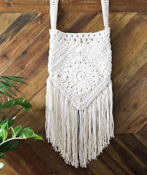 DIY Boho Fashion Ideas - DIY Crochet Boho Bag Tutorial - How to Make a Boho Bag - How to Make Your Own Boho Clothes, Sandals, Jewelry At Home - Boho Fashion Style - Cute DIY Boho Clothing, Clothes, Fashion - Homemade Bohemian Clothing #teencrafts #diyideas #diybohofashion #diybohoclothes