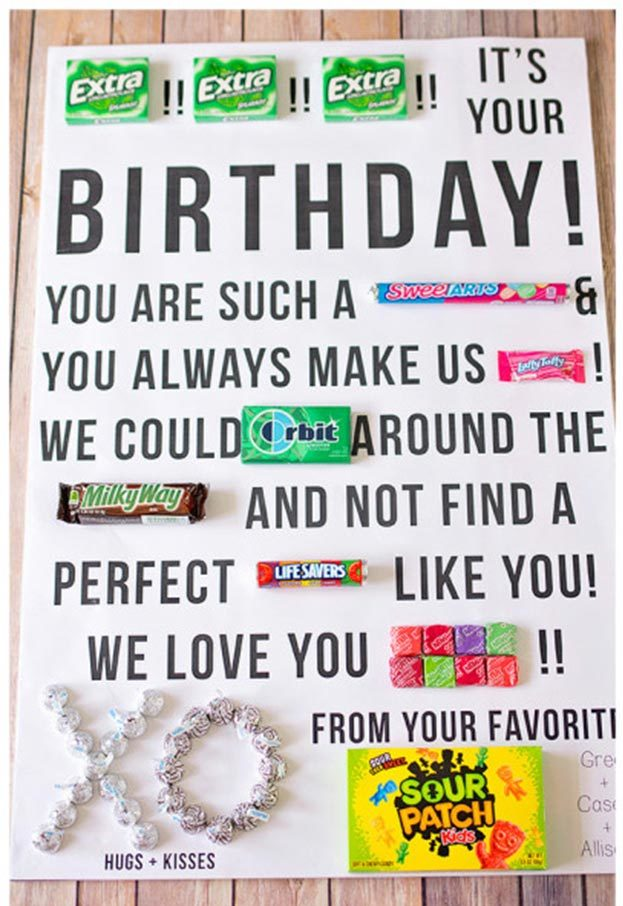 Cheap DIY Gifts to Make For Friends - How to Make a Candy Gram Birthday Card - BFF Gift Ideas for Birthday, Christmas - Last Minute Gifts for Friends - Cool Crafts For Teens and Girls #teencrafts #diyideas #giftideas