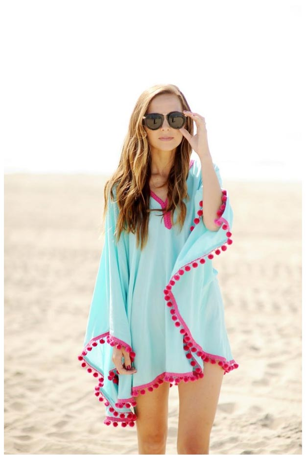 DIY Ideas for Summer - DIY Pom Pom Beach Coverup Tutorial - How to Make A Cute Cover Up - Cute Summery Crafts to Make and Sell - DIY Summer Crafts, Projects, Decor for Kids, Tweens, Teens, Adults, Seniors - Ideas to Make for Lake, Pool, Outdoors - Creative Things to Make for Summertime - Teen Crafts and DIY Projects #teencrafts #diyideas #craftideasforsummer