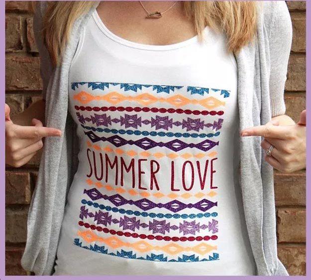 DIY Ideas for Summer - DIY Summer Love Shirt Tutorial - How to Make A Summer T Shirt - Cute Summery Crafts to Make and Sell - DIY Summer Crafts, Projects, Decor for Kids, Tweens, Teens, Adults, Seniors - Ideas to Make for Lake, Pool, Outdoors - Creative Things to Make for Summertime - Teen Crafts and DIY Projects #teencrafts #diyideas #craftideasforsummer