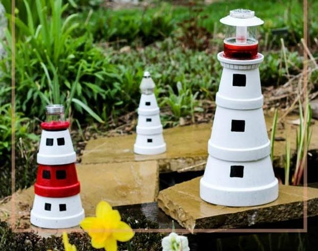 DIY Ideas for Summer - DIY Terra Cotta Pot Lighthouse Tutorial - DIY Garden Decor - Cute Summery Crafts to Make and Sell - DIY Summer Crafts, Projects, Decor for Kids, Tweens, Teens, Adults, Seniors - Ideas to Make for Lake, Pool, Outdoors - Creative Things to Make for Summertime - Teen Crafts and DIY Projects #teencrafts #diyideas #craftideasforsummer