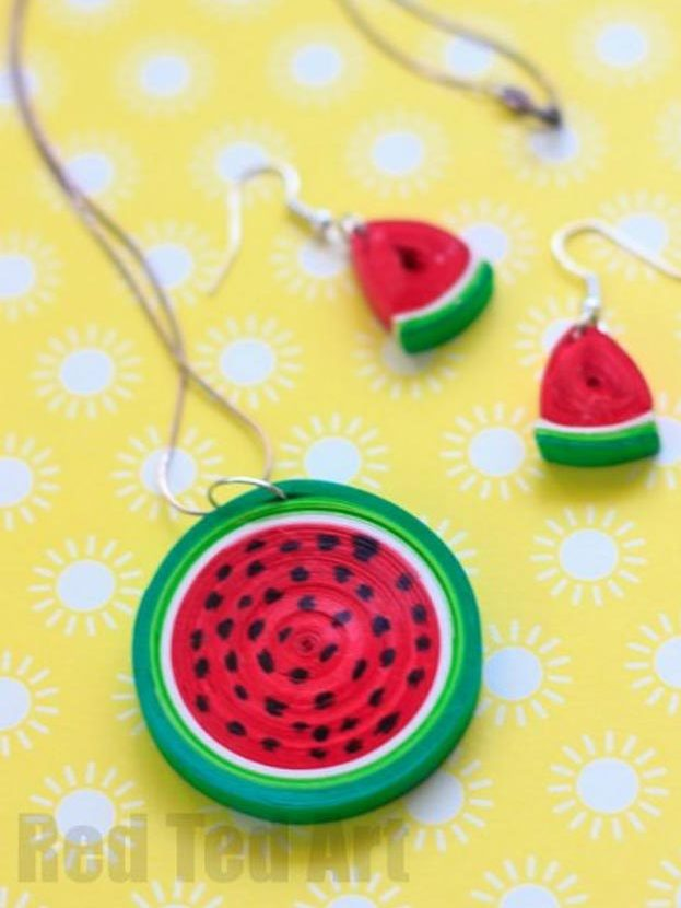 DIY Ideas for Summer - DIY Quilled Watermelon Pendant Tutorial - How to Make A Watermelon Necklace - Cute Summery Crafts to Make and Sell - DIY Summer Crafts, Projects, Decor for Kids, Tweens, Teens, Adults, Seniors - Ideas to Make for Lake, Pool, Outdoors - Creative Things to Make for Summertime - Teen Crafts and DIY Projects #teencrafts #diyideas #craftideasforsummer