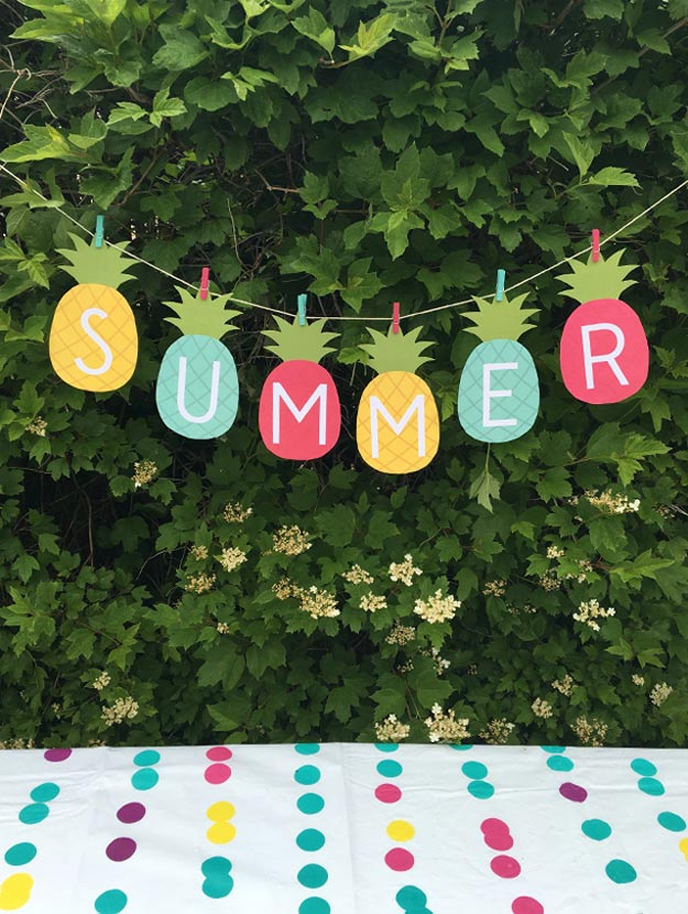 DIY Ideas for Summer - DIY Printable Summer Banner Tutorial - How to Make A Picnic Banner - Cute Summery Crafts to Make and Sell - DIY Summer Crafts, Projects, Decor for Kids, Tweens, Teens, Adults, Seniors - Ideas to Make for Lake, Pool, Outdoors - Creative Things to Make for Summertime - Teen Crafts and DIY Projects #teencrafts #diyideas #craftideasforsummer