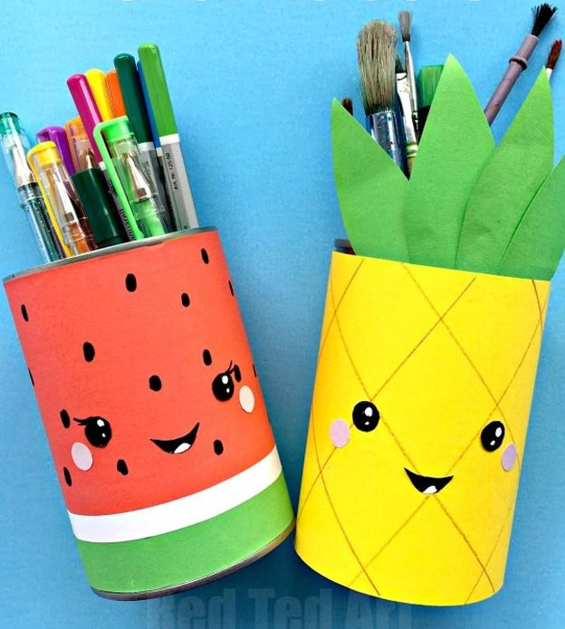 DIY Ideas for Summer - DIY Summer Fruit Pencil Holders Tutorial - How to Make Fruit Pencil Holders - Cute Summery Crafts to Make and Sell - DIY Summer Crafts, Projects, Decor for Kids, Tweens, Teens, Adults, Seniors - Ideas to Make for Lake, Pool, Outdoors - Creative Things to Make for Summertime - Teen Crafts and DIY Projects #teencrafts #diyideas #craftideasforsummer