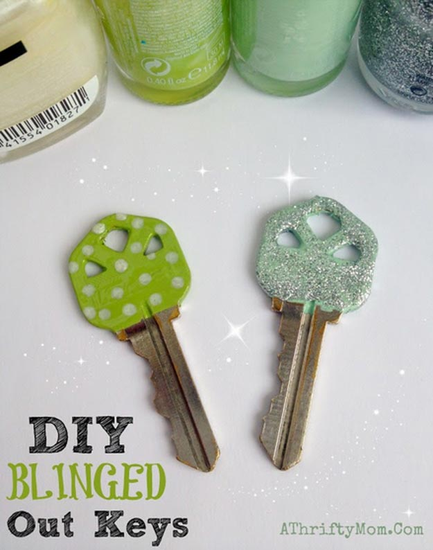 Easy Nail Polish Crafts - DIY Customized Keys Tutorial - How to Customize Keys With Nail Polish - Easy Craft Projects With Nail Polish - Cheap Do It Yourself Gifts, Fun and Quick Art Ideas To Make for Free - Keys, Phone Case, Paintings, Jewelry, Shoes, Clothing, Accessories and Bedroom Decor Ideas - Creative Things for Teens To Make, Teenagers and Tweens - Cute Dorm Room Decor, Things To Make When You Are Bored #teencrafts #diyideas #cheapcrafts