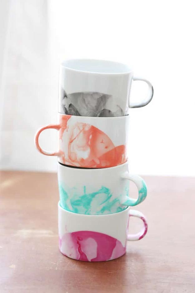 Easy Nail Polish Crafts - DIY Marbled Mugs Tutorial - How to Marble Mugs With Nail Polish - Easy Craft Projects With Nail Polish - Cheap Do It Yourself Gifts, Fun and Quick Art Ideas To Make for Free - Keys, Phone Case, Paintings, Jewelry, Shoes, Clothing, Accessories and Bedroom Decor Ideas - Creative Things for Teens To Make, Teenagers and Tweens - Cute Dorm Room Decor, Things To Make When You Are Bored #teencrafts #diyideas #cheapcrafts