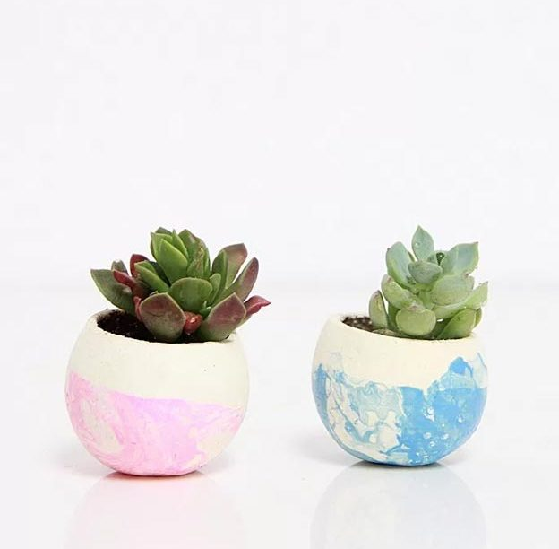 Easy Nail Polish Crafts - DIY Marbleized Planters Tutorial - How to Make Marbled Concrete Planters - Easy Craft Projects With Nail Polish - Cheap Do It Yourself Gifts, Fun and Quick Art Ideas To Make for Free - Keys, Phone Case, Paintings, Jewelry, Shoes, Clothing, Accessories and Bedroom Decor Ideas - Creative Things for Teens To Make, Teenagers and Tweens - Cute Dorm Room Decor, Things To Make When You Are Bored #teencrafts #diyideas #cheapcrafts