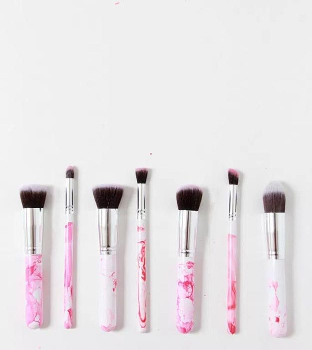 Easy Nail Polish Crafts - DIY Marbled Makeup Brushes Tutorial - How to Marble Makeup Brushes - Easy Craft Projects With Nail Polish - Cheap Do It Yourself Gifts, Fun and Quick Art Ideas To Make for Free - Keys, Phone Case, Paintings, Jewelry, Shoes, Clothing, Accessories and Bedroom Decor Ideas - Creative Things for Teens To Make, Teenagers and Tweens - Cute Dorm Room Decor, Things To Make When You Are Bored #teencrafts #diyideas #cheapcrafts