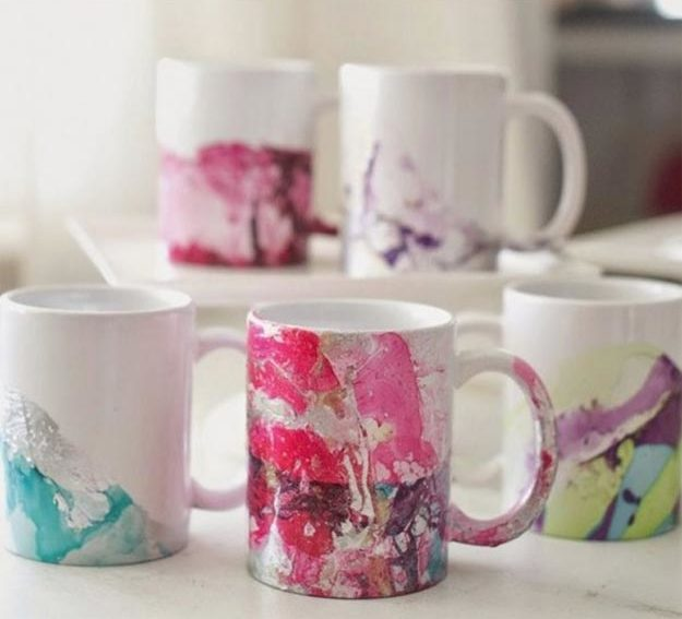 Easy Nail Polish Crafts - DIY Water Marble Mug Tutorial - How to Make A Marbled Mug With Nail Polish - Easy Craft Projects With Nail Polish - Cheap Do It Yourself Gifts, Fun and Quick Art Ideas To Make for Free - Keys, Phone Case, Paintings, Jewelry, Shoes, Clothing, Accessories and Bedroom Decor Ideas - Creative Things for Teens To Make, Teenagers and Tweens - Cute Dorm Room Decor, Things To Make When You Are Bored #teencrafts #diyideas #cheapcrafts