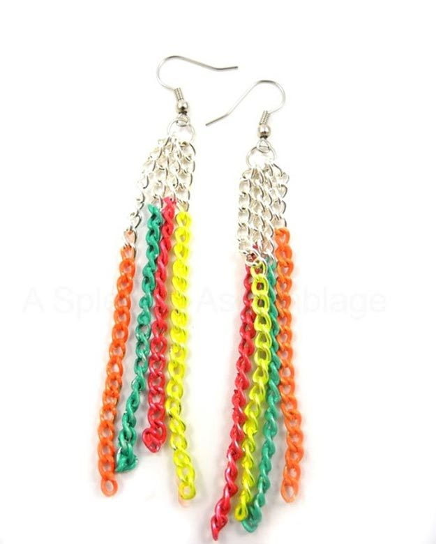 Easy Nail Polish Crafts - DIY Neon Chain Earrings Tutorial - How to Make Jewelry With Nail Polish - Easy Craft Projects With Nail Polish - Cheap Do It Yourself Gifts, Fun and Quick Art Ideas To Make for Free - Keys, Phone Case, Paintings, Jewelry, Shoes, Clothing, Accessories and Bedroom Decor Ideas - Creative Things for Teens To Make, Teenagers and Tweens - Cute Dorm Room Decor, Things To Make When You Are Bored #teencrafts #diyideas #cheapcrafts