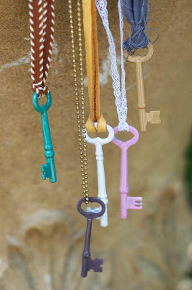 Easy Nail Polish Crafts - DIY Enameled Vintage Keys Tutorial - How to Make Enameled Vintage Keys - Easy Craft Projects With Nail Polish - Cheap Do It Yourself Gifts, Fun and Quick Art Ideas To Make for Free - Keys, Phone Case, Paintings, Jewelry, Shoes, Clothing, Accessories and Bedroom Decor Ideas - Creative Things for Teens To Make, Teenagers and Tweens - Cute Dorm Room Decor, Things To Make When You Are Bored #teencrafts #diyideas #cheapcrafts