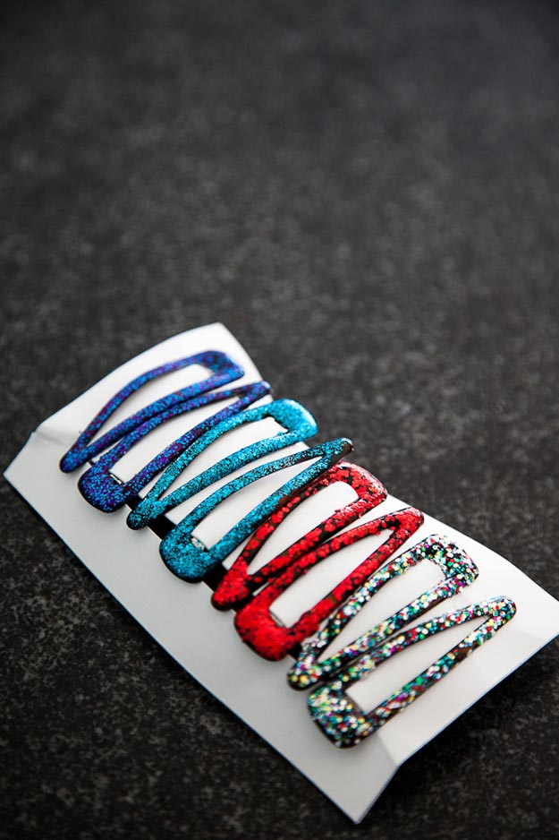 Easy Nail Polish Crafts - DIY Glittery Barrettes Tutorial - How to Make Glittery Barrettes - Easy Craft Projects With Nail Polish - Cheap Do It Yourself Gifts, Fun and Quick Art Ideas To Make for Free - Keys, Phone Case, Paintings, Jewelry, Shoes, Clothing, Accessories and Bedroom Decor Ideas - Creative Things for Teens To Make, Teenagers and Tweens - Cute Dorm Room Decor, Things To Make When You Are Bored #teencrafts #diyideas #cheapcrafts