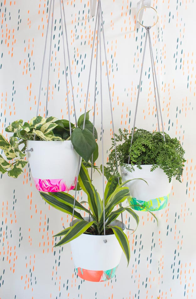 Easy Nail Polish Crafts - DIY Marbled Hanging Planter Tutorial - How to Make A Marbled Hanging Planter With Nail Polish - Easy Craft Projects With Nail Polish - Cheap Do It Yourself Gifts, Fun and Quick Art Ideas To Make for Free - Keys, Phone Case, Paintings, Jewelry, Shoes, Clothing, Accessories and Bedroom Decor Ideas - Creative Things for Teens To Make, Teenagers and Tweens - Cute Dorm Room Decor, Things To Make When You Are Bored #teencrafts #diyideas #cheapcrafts