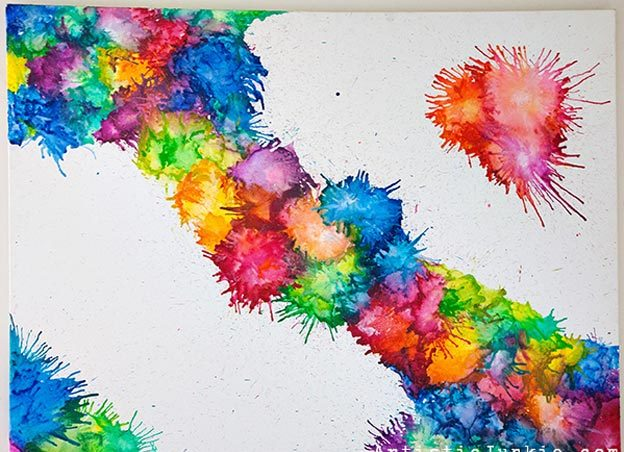 Cool Wall Art Ideas for Teens - DIY Melted Crayon Art - How to Make Crayon Art - Cheap and Easy DIY Canvas Projects, Paintings and Arts and Crafts for Bedroom Walls - Inexpensive, Quick Project Tutorials for String Art, Crayon, Yarn, Paint Chip, Boho, Simple and Modern Decor for Teens, Teenagers and Tweens - Colorful and Creative Paint, Glue and Mod Podge Craft Idea #teencrafts #diyideas #roomdecor