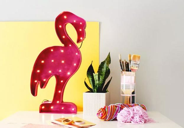 Cool Wall Art Ideas for Teens - DIY Flamingo Marquee Light Tutorial - Cheap and Easy DIY Canvas Projects, Paintings and Arts and Crafts for Bedroom Walls - Inexpensive, Quick Project Tutorials for String Art, Crayon, Yarn, Paint Chip, Boho, Simple and Modern Decor for Teens, Teenagers and Tweens - Colorful and Creative Paint, Glue and Mod Podge Craft Idea #teencrafts #diyideas #roomdecor