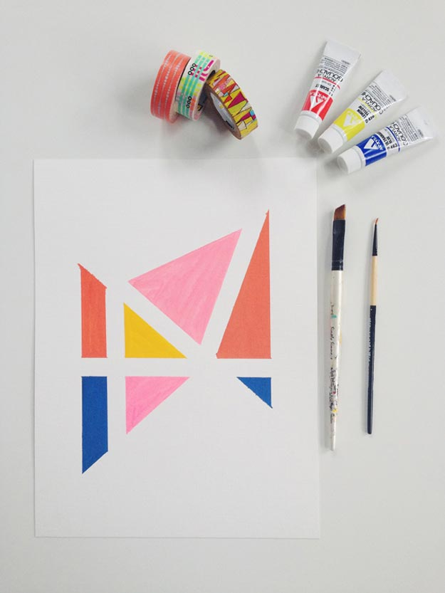 Cool Wall Art Ideas for Teens - Easy Wall Art Tutorial - DIY Easy Geometric Wall Art Tutorial - Cheap and Easy DIY Canvas Projects, Paintings and Arts and Crafts for Bedroom Walls - Inexpensive, Quick Project Tutorials for String Art, Crayon, Yarn, Paint Chip, Boho, Simple and Modern Decor for Teens, Teenagers and Tweens - Colorful and Creative Paint, Glue and Mod Podge Craft Idea #teencrafts #diyideas #roomdecor