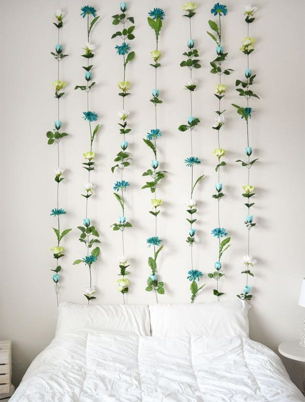 Cool Wall Art Ideas for Teens - How to Make A Wall Hanging - DIY Flower Wall Tutorial - Cheap and Easy DIY Canvas Projects, Paintings and Arts and Crafts for Bedroom Walls - Inexpensive, Quick Project Tutorials for String Art, Crayon, Yarn, Paint Chip, Boho, Simple and Modern Decor for Teens, Teenagers and Tweens - Colorful and Creative Paint, Glue and Mod Podge Craft Idea #teencrafts #diyideas #roomdecor