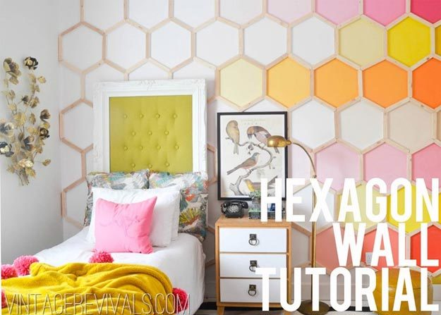 Cool Wall Art Ideas for Teens - DIY Hexagon Wall Tutorial - How to Make a Hexagon Wall - Cheap and Easy DIY Canvas Projects, Paintings and Arts and Crafts for Bedroom Walls - Inexpensive, Quick Project Tutorials for String Art, Crayon, Yarn, Paint Chip, Boho, Simple and Modern Decor for Teens, Teenagers and Tweens - Colorful and Creative Paint, Glue and Mod Podge Craft Idea #teencrafts #diyideas #roomdecor