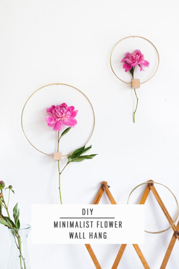 Cool Wall Art Ideas for Teens - How to Make A Wall Hanging - DIY Minimalist Flower Wall Hang Tutorial - Cheap and Easy DIY Canvas Projects, Paintings and Arts and Crafts for Bedroom Walls - Inexpensive, Quick Project Tutorials for String Art, Crayon, Yarn, Paint Chip, Boho, Simple and Modern Decor for Teens, Teenagers and Tweens - Colorful and Creative Paint, Glue and Mod Podge Craft Idea #teencrafts #diyideas #roomdecor
