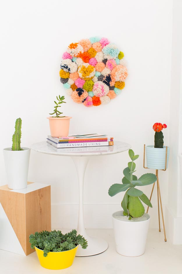 Cool Wall Art Ideas for Teens - How to Make A Wall Hanging - DIY Pom Pom Wall Hang Tutorial - Cheap and Easy DIY Canvas Projects, Paintings and Arts and Crafts for Bedroom Walls - Inexpensive, Quick Project Tutorials for String Art, Crayon, Yarn, Paint Chip, Boho, Simple and Modern Decor for Teens, Teenagers and Tweens - Colorful and Creative Paint, Glue and Mod Podge Craft Idea #teencrafts #diyideas #roomdecor