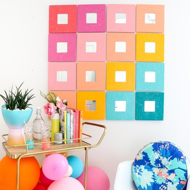 Cool Wall Art Ideas for Teens - DIY Splatter Painted Mirror Wall Art Tutorial - Cheap and Easy DIY Canvas Projects, Paintings and Arts and Crafts for Bedroom Walls - Inexpensive, Quick Project Tutorials for String Art, Crayon, Yarn, Paint Chip, Boho, Simple and Modern Decor for Teens, Teenagers and Tweens - Colorful and Creative Paint, Glue and Mod Podge Craft Idea #teencrafts #diyideas #roomdecor