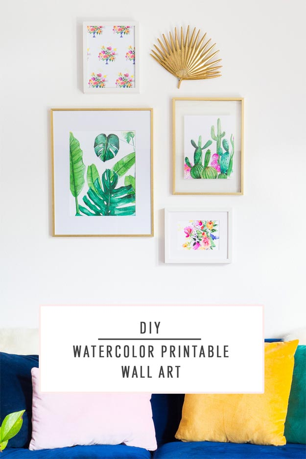 Cool Wall Art Ideas for Teens - DIY Printable Watercolor Wall Art - Printable Wall Art - Cheap and Easy DIY Canvas Projects, Paintings and Arts and Crafts for Bedroom Walls - Inexpensive, Quick Project Tutorials for String Art, Crayon, Yarn, Paint Chip, Boho, Simple and Modern Decor for Teens, Teenagers and Tweens - Colorful and Creative Paint, Glue and Mod Podge Craft Idea #teencrafts #diyideas #roomdecor