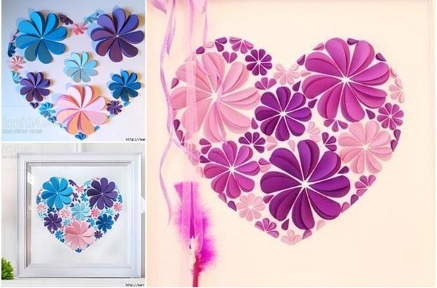 Cool Wall Art Ideas for Teens - How to Make Easy Paper Heart Flower Wall Art - Cheap and Easy DIY Canvas Projects, Paintings and Arts and Crafts for Bedroom Walls - Inexpensive, Quick Project Tutorials for String Art, Crayon, Yarn, Paint Chip, Boho, Simple and Modern Decor for Teens, Teenagers and Tweens - Colorful and Creative Paint, Glue and Mod Podge Craft Idea #teencrafts #diyideas #roomdecor