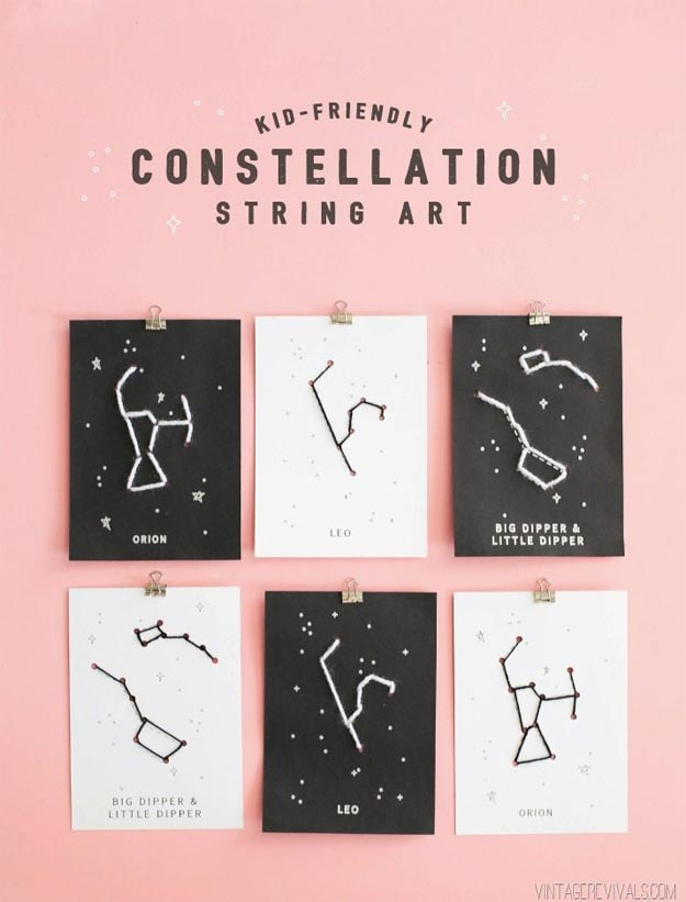 Cool Wall Art Ideas for Teens - DIY Constellation String Art Tutorial - Cheap and Easy DIY Canvas Projects, Paintings and Arts and Crafts for Bedroom Walls - Inexpensive, Quick Project Tutorials for String Art, Crayon, Yarn, Paint Chip, Boho, Simple and Modern Decor for Teens, Teenagers and Tweens - Colorful and Creative Paint, Glue and Mod Podge Craft Idea #teencrafts #diyideas #roomdecor
