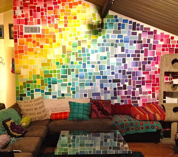 Cool Wall Art Ideas for Teens - How to Make A Paint Chip Wall - DIY Paint Chip Wall Tutorial - Cheap and Easy DIY Canvas Projects, Paintings and Arts and Crafts for Bedroom Walls - Inexpensive, Quick Project Tutorials for String Art, Crayon, Yarn, Paint Chip, Boho, Simple and Modern Decor for Teens, Teenagers and Tweens - Colorful and Creative Paint, Glue and Mod Podge Craft Idea #teencrafts #diyideas #roomdecor