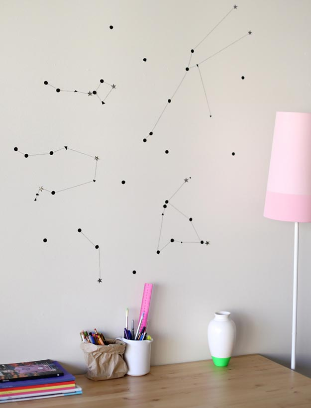 Cool Wall Art Ideas for Teens - DIY Sticker Star Wall Constellation Tutorial - Cheap and Easy DIY Canvas Projects, Paintings and Arts and Crafts for Bedroom Walls - Inexpensive, Quick Project Tutorials for String Art, Crayon, Yarn, Paint Chip, Boho, Simple and Modern Decor for Teens, Teenagers and Tweens - Colorful and Creative Paint, Glue and Mod Podge Craft Idea #teencrafts #diyideas #roomdecor