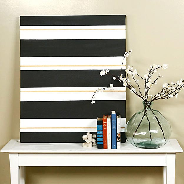 Cool Wall Art Ideas for Teens - DIY Stylish Striped Art - How to Make Striped Wall Art - Cheap and Easy DIY Canvas Projects, Paintings and Arts and Crafts for Bedroom Walls - Inexpensive, Quick Project Tutorials for String Art, Crayon, Yarn, Paint Chip, Boho, Simple and Modern Decor for Teens, Teenagers and Tweens - Colorful and Creative Paint, Glue and Mod Podge Craft Idea #teencrafts #diyideas #roomdecor
