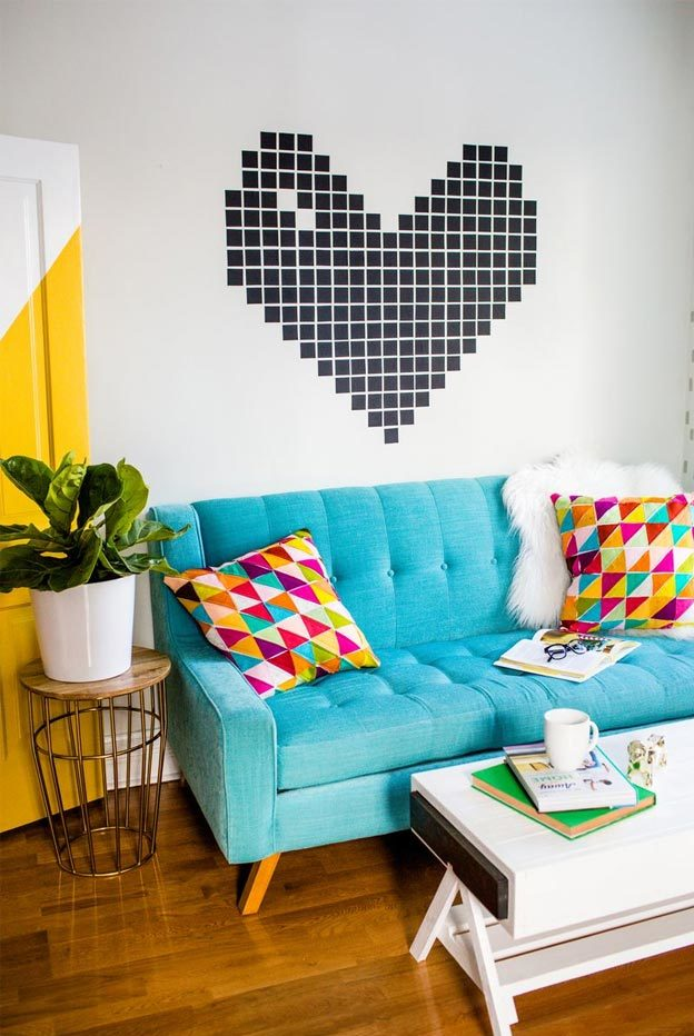 Cool Wall Art Ideas for Teens - DIY Washi Tape Heart Tutorial - Cheap and Easy DIY Canvas Projects, Paintings and Arts and Crafts for Bedroom Walls - Inexpensive, Quick Project Tutorials for String Art, Crayon, Yarn, Paint Chip, Boho, Simple and Modern Decor for Teens, Teenagers and Tweens - Colorful and Creative Paint, Glue and Mod Podge Craft Idea #teencrafts #diyideas #roomdecor
