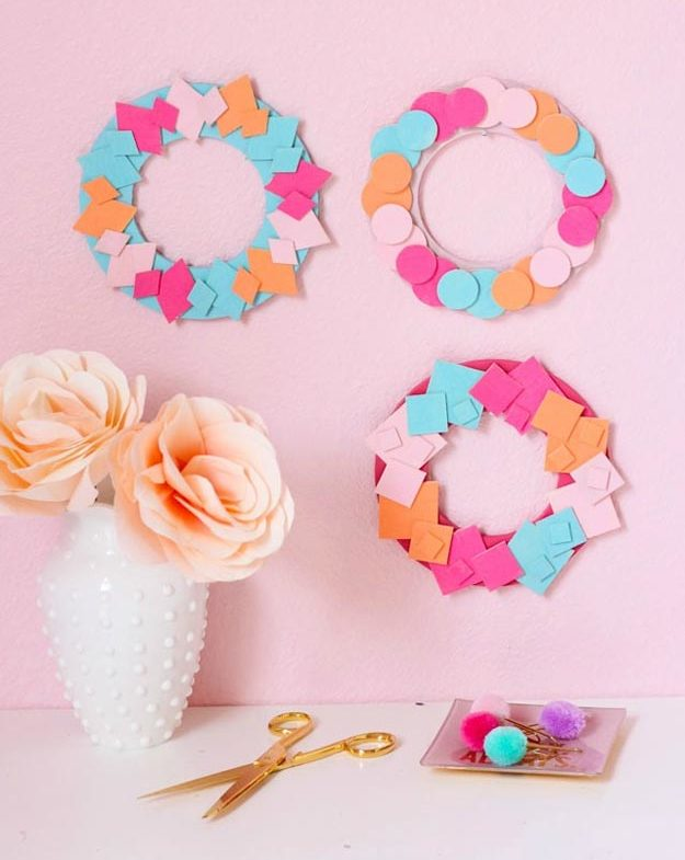 Dollar Store Crafts - DIY Colorful Mini Wood Wreaths Tutorial - How to Make Wood Wreaths - Easy DIY Dollar Tree Crafts - Cheap DIY Projects for Teenagers, Room, Decor, and Gifts - Dollar Tree Crafts to Make and Sell, at Home - Handmade Craft Ideas to Sell with Instructions and Tutorials - Easy Teen Crafts #teencrafts #diyideas #dollarstorecrafts