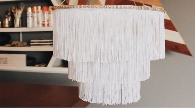 Dollar Store Crafts - DIY Boho Fringe Chandelier Tutorial - How to Make Boho Chandelier - Easy DIY Dollar Tree Crafts - Cheap DIY Projects for Teenagers, Room, Decor, and Gifts - Dollar Tree Crafts to Make and Sell, at Home - Handmade Craft Ideas to Sell with Instructions and Tutorials - Easy Teen Crafts #teencrafts #diyideas #dollarstorecrafts