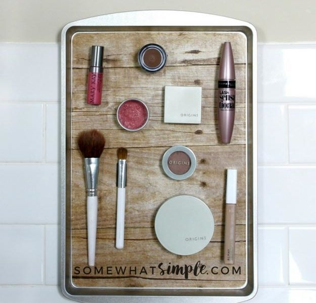 Dollar Store Crafts - DIY Magnetic Makeup Organizer Tutorial - How to Make A Magnetic Makeup Organizer Out of A Cooking Tray - Easy DIY Dollar Tree Crafts - Cheap DIY Projects for Teenagers, Room, Decor, and Gifts - Dollar Tree Crafts to Make and Sell, at Home - Handmade Craft Ideas to Sell with Instructions and Tutorials - Easy Teen Crafts #teencrafts #diyideas #dollarstorecrafts