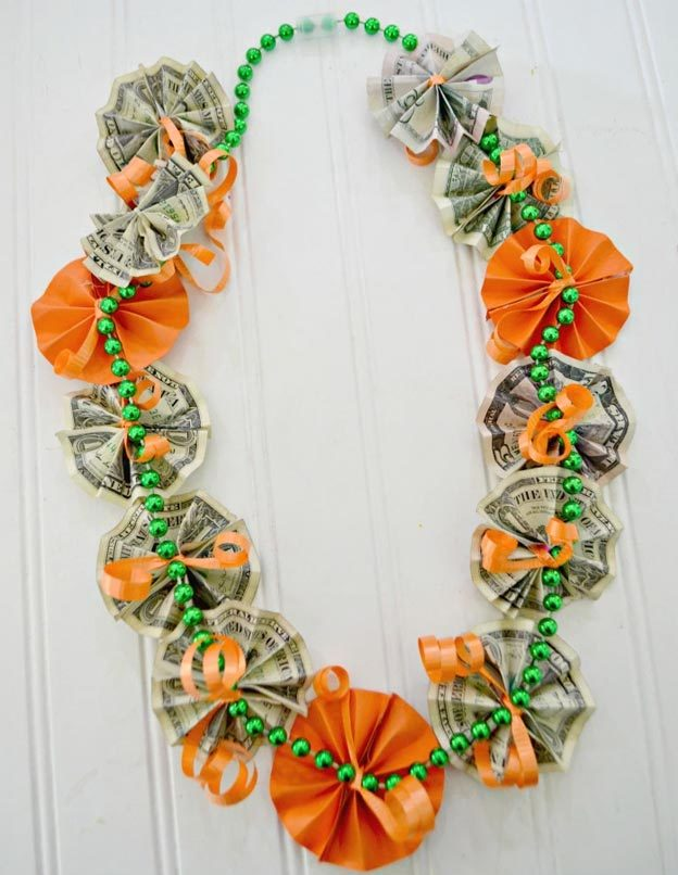 Dollar Store Crafts - DIY Money Lei Tutorial - How to Make A Money Lei - Easy DIY Dollar Tree Crafts - Cheap DIY Projects for Teenagers, Room, Decor, and Gifts - Dollar Tree Crafts to Make and Sell, at Home - Handmade Craft Ideas to Sell with Instructions and Tutorials - Easy Teen Crafts #teencrafts #diyideas #dollarstorecrafts