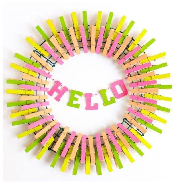 Dollar Store Crafts - DIY Colorful Clothespin Wreath Tutorial - How to Make A Clothespin Wreath - Easy DIY Dollar Tree Crafts - Cheap DIY Projects for Teenagers, Room, Decor, and Gifts - Dollar Tree Crafts to Make and Sell, at Home - Handmade Craft Ideas to Sell with Instructions and Tutorials - Easy Teen Crafts #teencrafts #diyideas #dollarstorecrafts