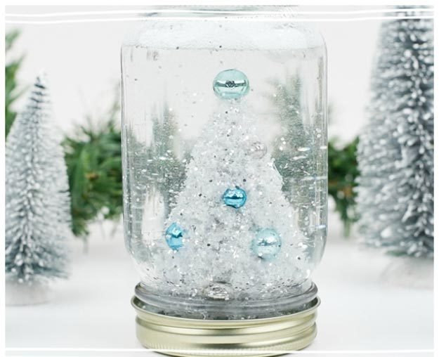 Dollar Store Crafts - DIY Mason Jar Snow Globe Tutorial - How to Make A Mason Jar Snow Globe - Easy DIY Dollar Tree Crafts - Cheap DIY Projects for Teenagers, Room, Decor, and Gifts - Dollar Tree Crafts to Make and Sell, at Home - Handmade Craft Ideas to Sell with Instructions and Tutorials - Easy Teen Crafts #teencrafts #diyideas #dollarstorecrafts