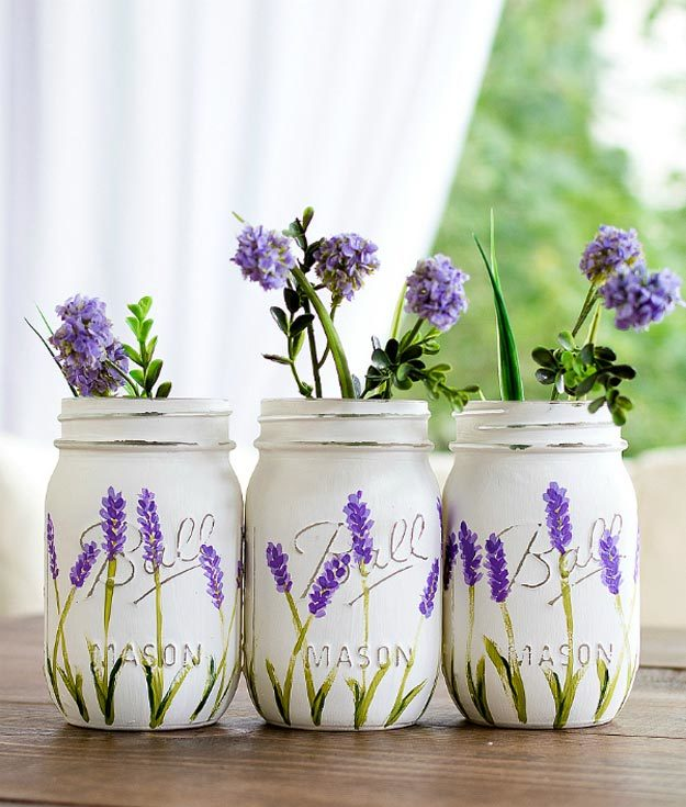 Dollar Store Crafts - DIY Lavender Painted Mason Jar Tutorial - DIY Painted Mason Jar Ideas - Easy DIY Dollar Tree Crafts - Cheap DIY Projects for Teenagers, Room, Decor, and Gifts - Dollar Tree Crafts to Make and Sell, at Home - Handmade Craft Ideas to Sell with Instructions and Tutorials - Easy Teen Crafts #teencrafts #diyideas #dollarstorecrafts