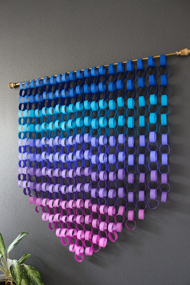 Dollar Store Crafts - DIY Ombre Paper Chain Wall Art Tutorial - How to Make Paper Chain Wall Art - Easy DIY Dollar Tree Crafts - Cheap DIY Projects for Teenagers, Room, Decor, and Gifts - Dollar Tree Crafts to Make and Sell, at Home - Handmade Craft Ideas to Sell with Instructions and Tutorials - Easy Teen Crafts #teencrafts #diyideas #dollarstorecrafts