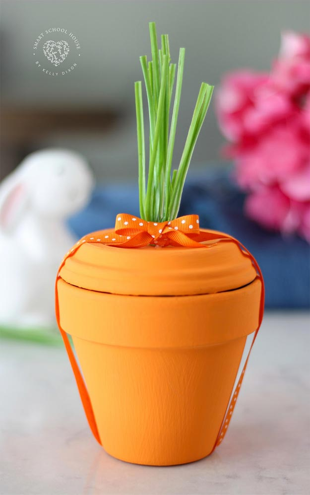 Dollar Store Crafts - DIY Terra Cotta Pot Carrot Tutorial - DIY Terra Cotta Pot Crafts - Easy DIY Dollar Tree Crafts - Cheap DIY Projects for Teenagers, Room, Decor, and Gifts - Dollar Tree Crafts to Make and Sell, at Home - Handmade Craft Ideas to Sell with Instructions and Tutorials - Easy Teen Crafts #teencrafts #diyideas #dollarstorecrafts