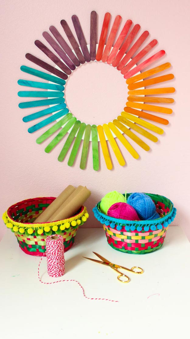 Dollar Store Crafts - DIY Rainbow Popsicle Stick Wreath Tutorial - How to Make A Popsicle Wreath - Easy DIY Dollar Tree Crafts - Cheap DIY Projects for Teenagers, Room, Decor, and Gifts - Dollar Tree Crafts to Make and Sell, at Home - Handmade Craft Ideas to Sell with Instructions and Tutorials - Easy Teen Crafts #teencrafts #diyideas #dollarstorecrafts